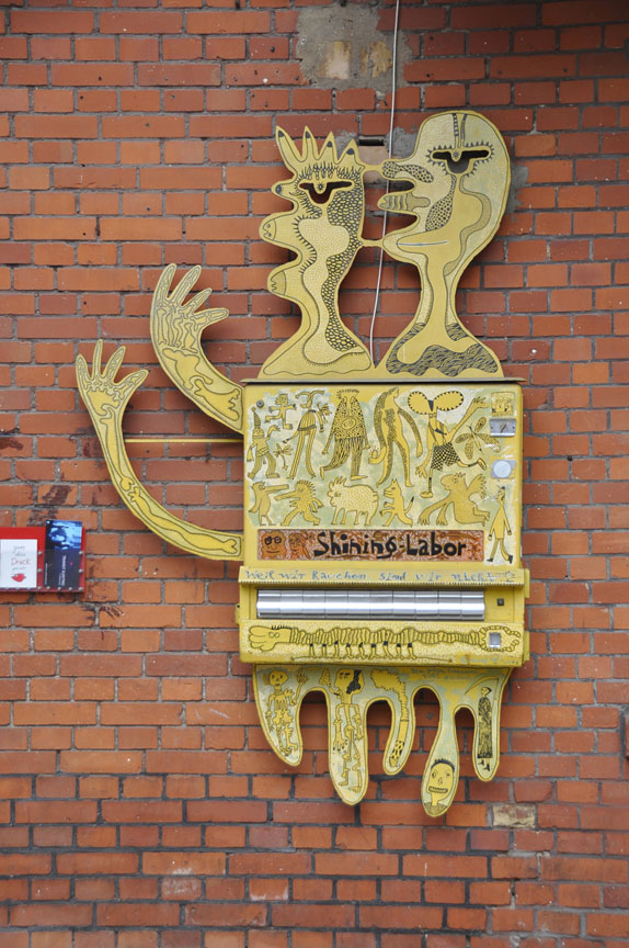 Artist decorated cigarette dispenser in Berlin