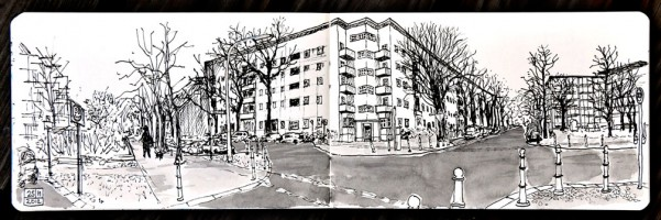 Drawing of Berlin residential neighbourhood