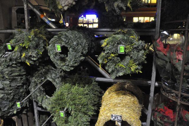 Christmas wreaths for sale, Berlin