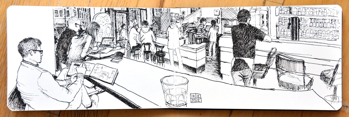 Sketching with Omar at Cafe St. Oberholz