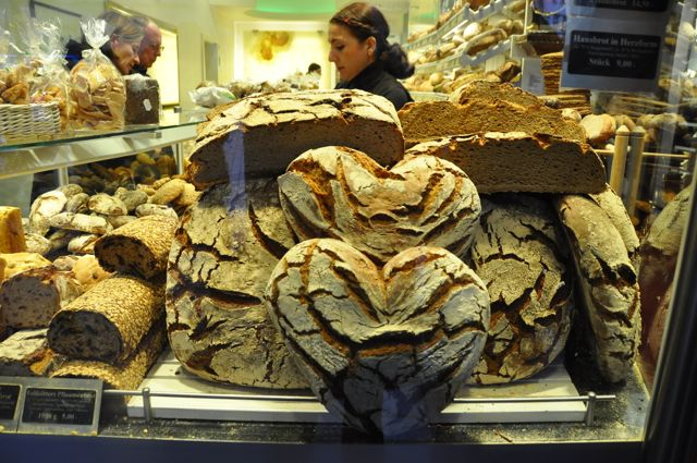 Heart-shaped bread in a German bakery in Münster