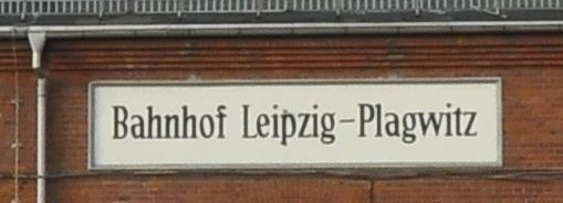 Leipzig-Plagwitz train station signage