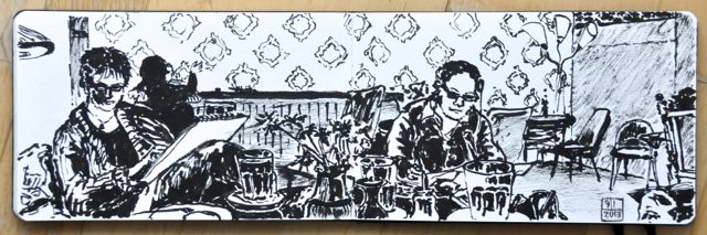 Urban sketch in Tante Emma Bar, Berlin