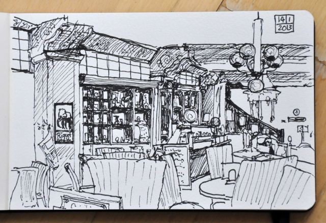Sketch in Cafe Riquet Leipzig