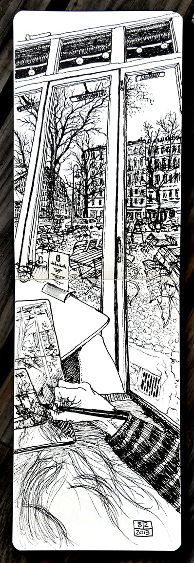 Sketch of view from SowohlAlsAuch Cafe