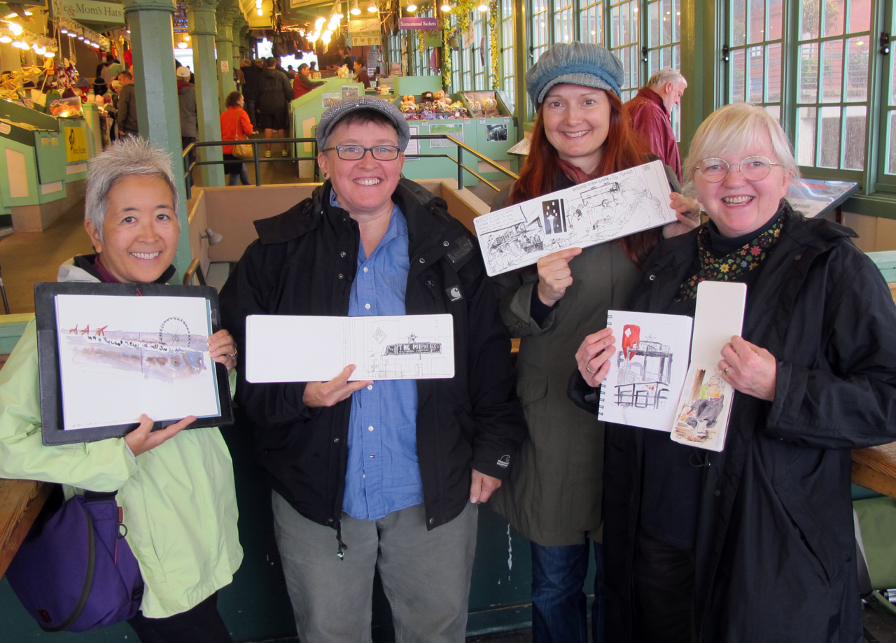 With Seattle sketchers Tina, Lynne, and Kate