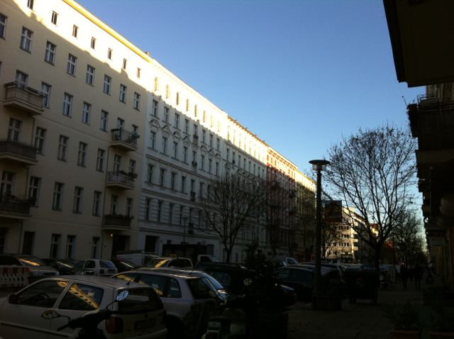 Sunrise on Berlin apartment buildings