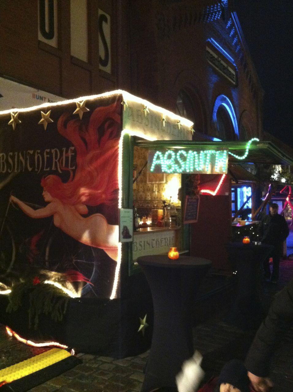 Asinthe bar, Lucia Christmas market, Berlin
