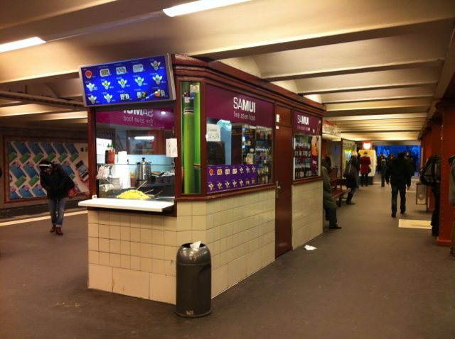 Food stand in subway station, Berlin
