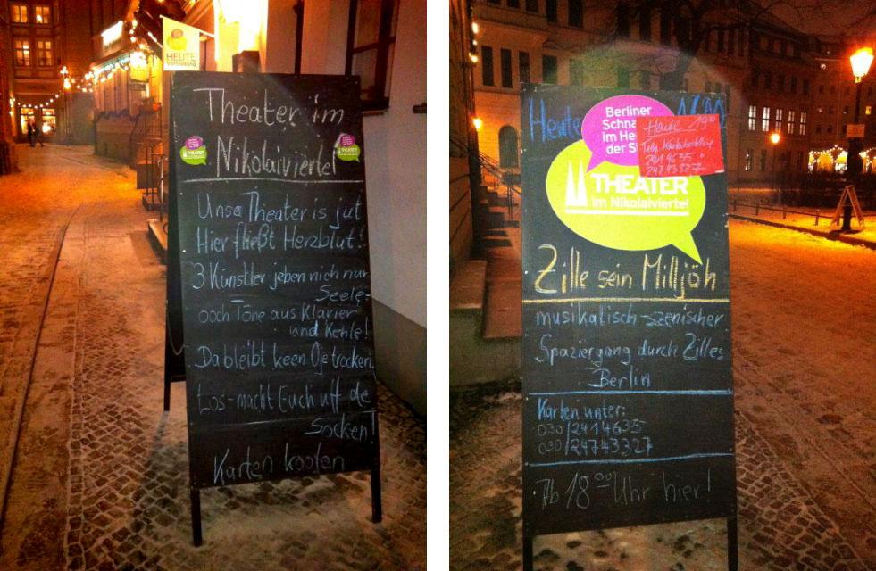 """Sandwich board advertising the Zille """"Liederabend"""""""