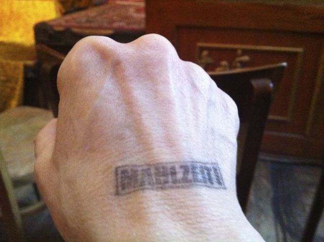 Handstamp for Dr. Sketchy session