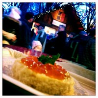 Red caviar canapé at the Berliner Weihnachtsmarkt