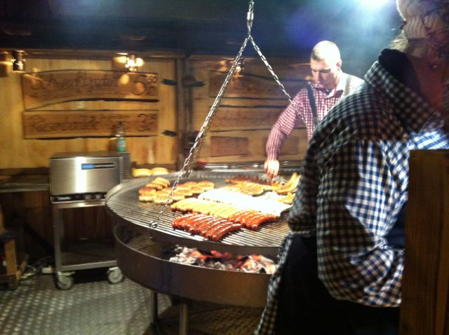 German sausages at the Lucia Christmas market, Berlin