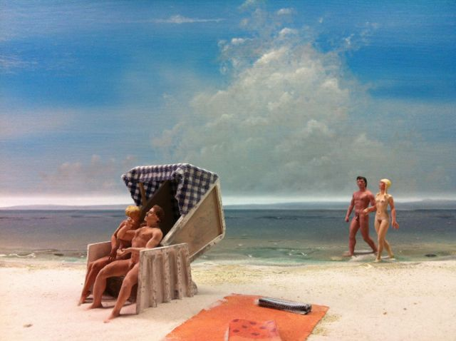 Diorama of an East German beach, DDR Museum, Berlin