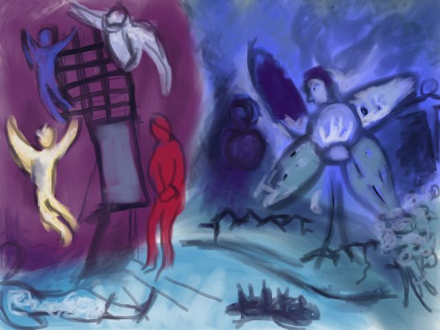 Copy of Chagall painting in Procreate on iPad