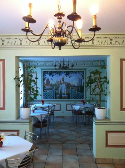 The breakfast room at my pension in Leipzig