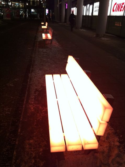Glowing benches near Potsdamer Platz, Berlin
