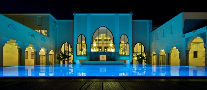 The Mediterana Indian pool at night