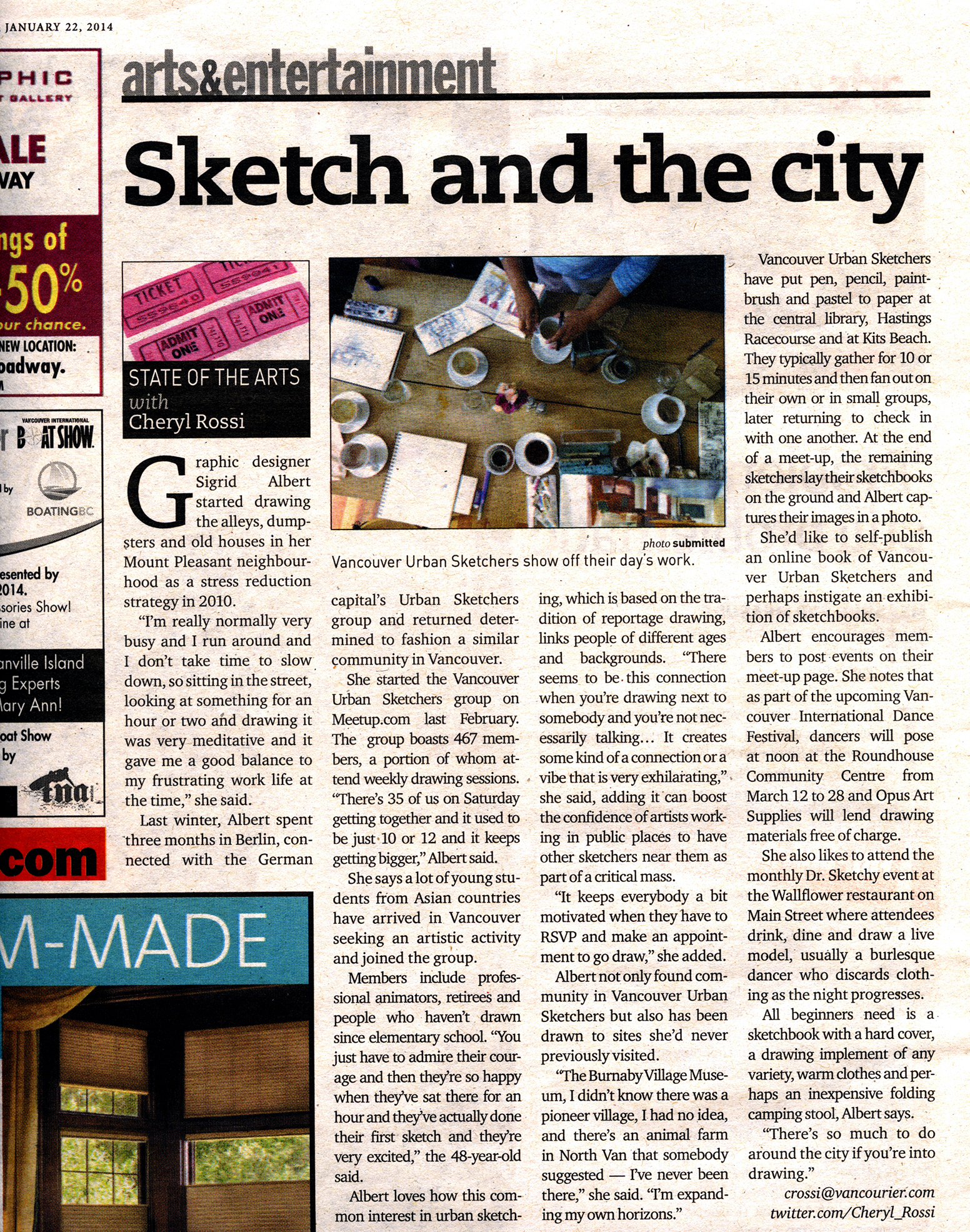 Vancouver Courier article about urban sketching