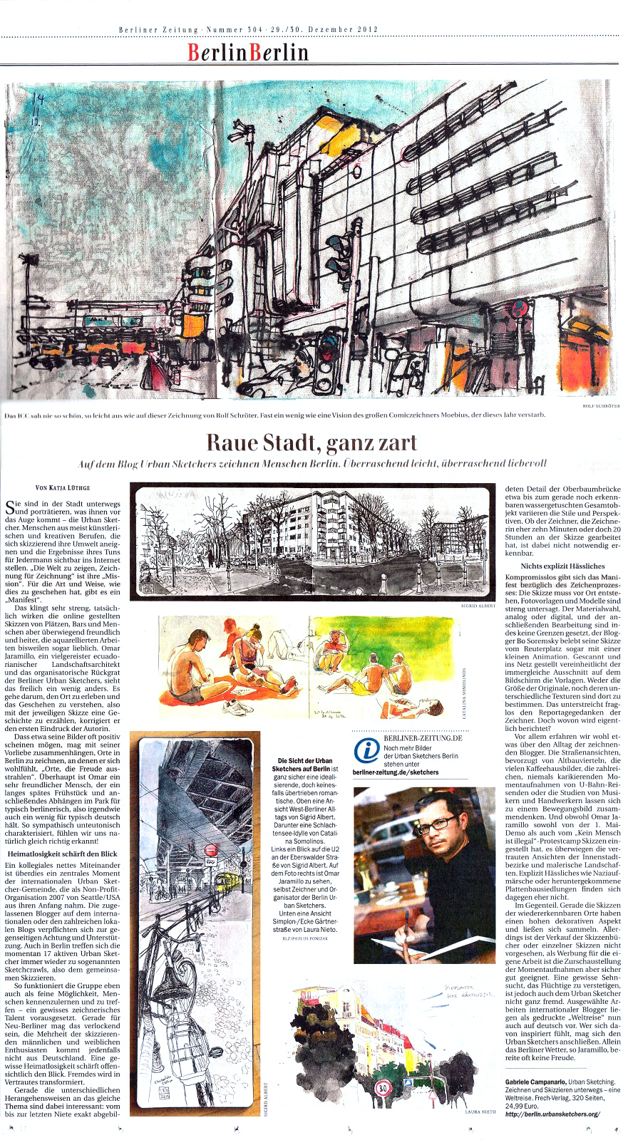 Urban Sketchers article in the Berliner Zeitung