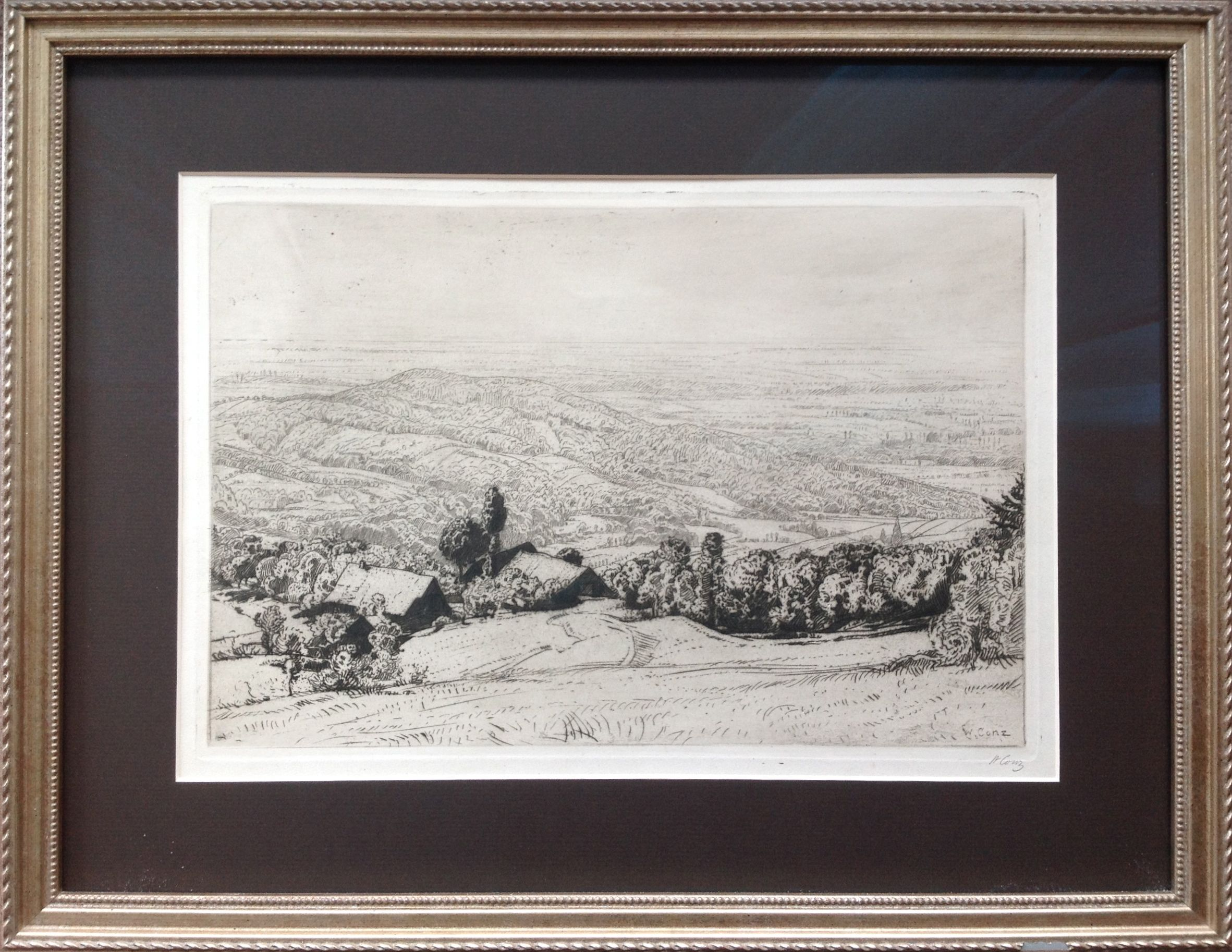 Copper etching of landscape